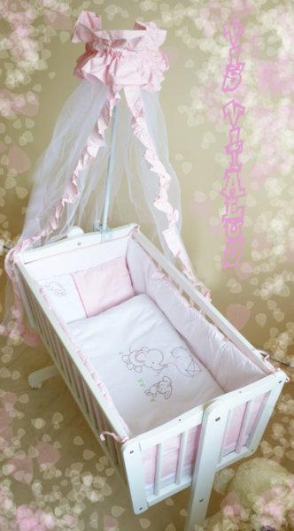 Бебешки олекотен комплект + обиколник /ранфорс/ с бродерия по люлка Ева + балдахин